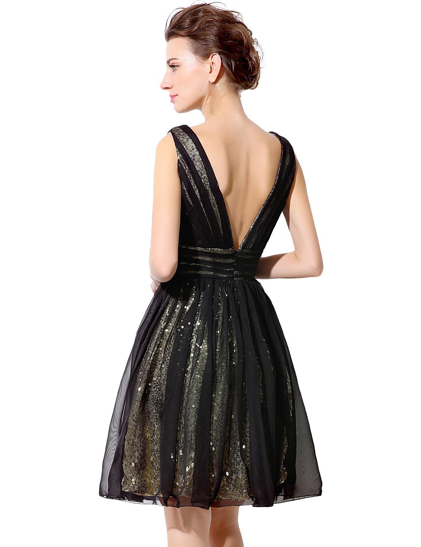 Black/Gold Short Tulle Sequin Formal Prom Dress, Cocktail Dress ...