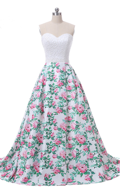 White Pink Floral Print Ball Gown Satin Beading Floor Length ...