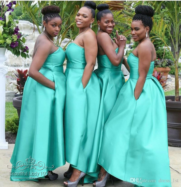 Simple Strapless Wedding Bridesmaid Dresses with Pockets ...