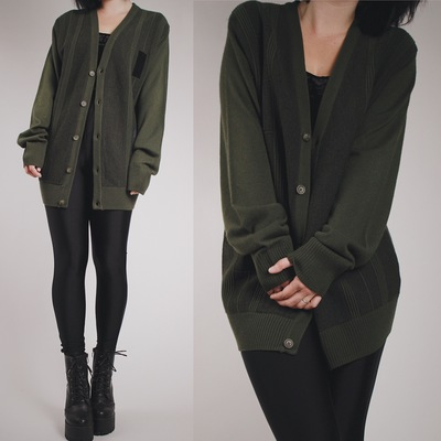 Claimed  zomgfish - vintage 80s olive green slouchy cardigan with suede  patches 123f3f163
