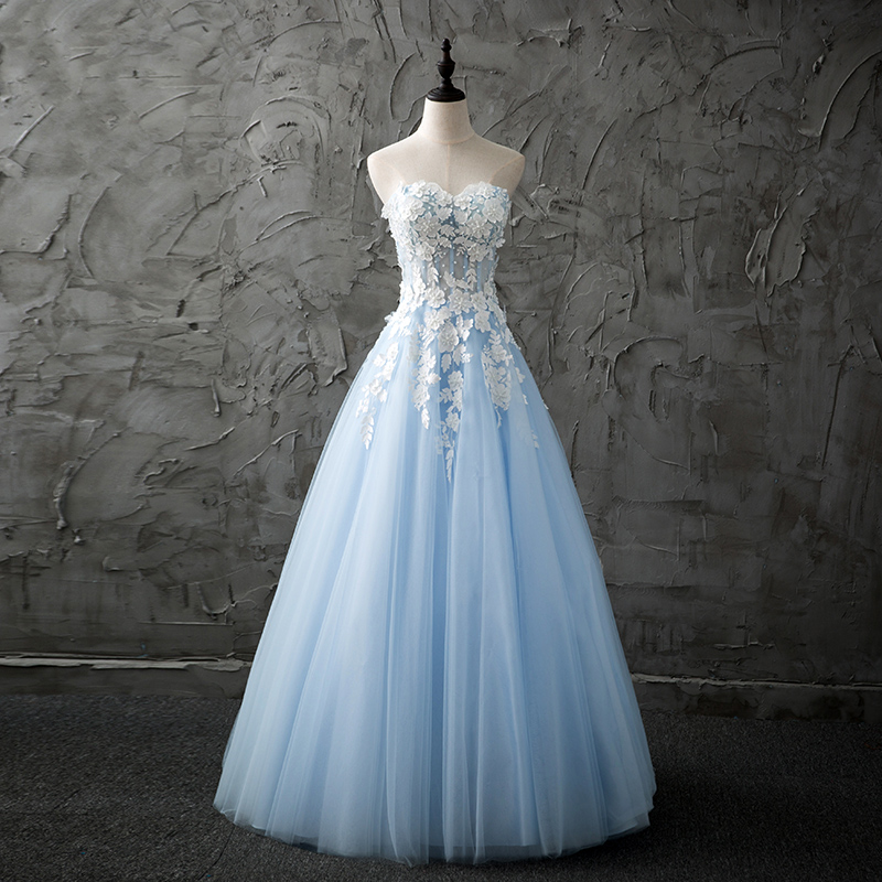 Light blue strapless lace long prom dress, tulle evening dresses ...