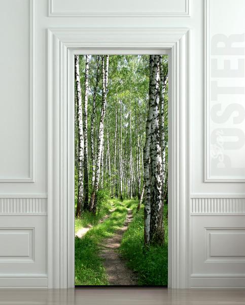 Door Sticker Wood Tree Forest Birch Way Mural Decole Film
