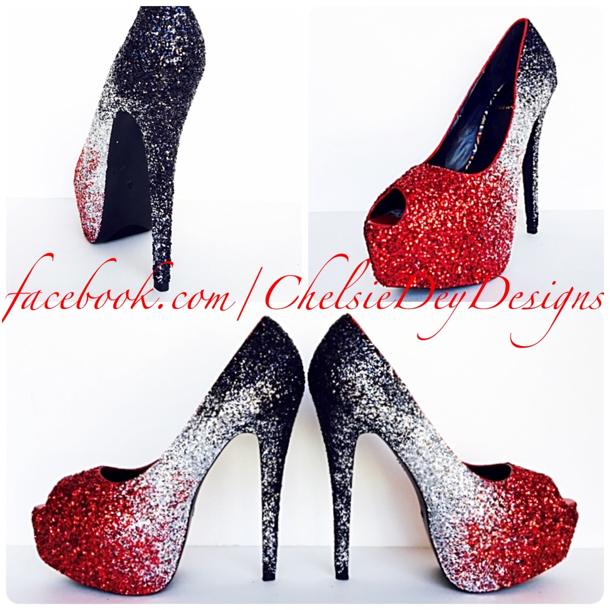 Red Glitter Peep Toe Pumps, Crimson Ombre Open Toe High Heels ...