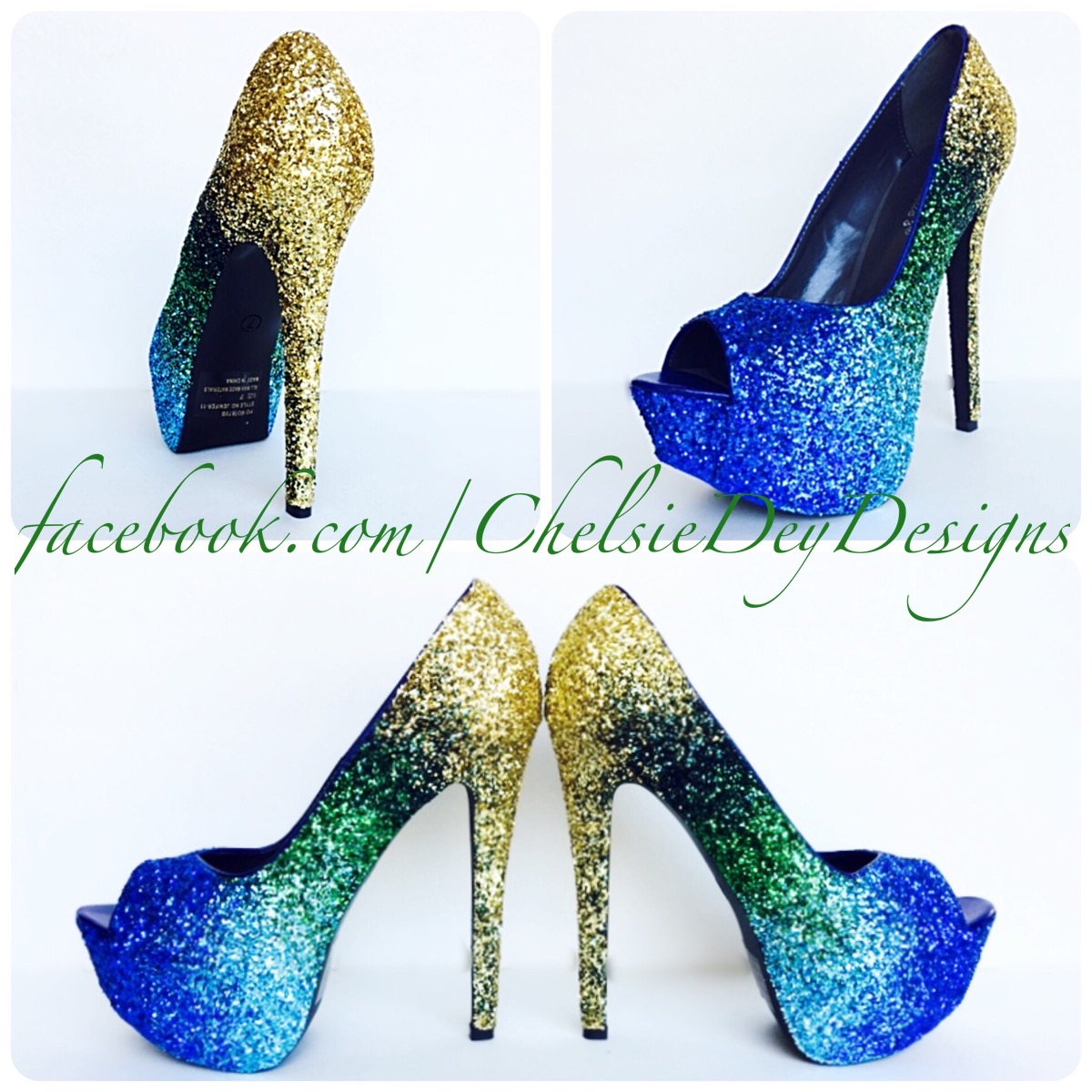 Peacock Glitter High Heels - Gold Green Royal Blue Light Blue ...