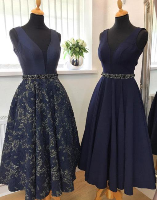 Navy blue V neck mid-length party dress with beading | GirlsProm ...
