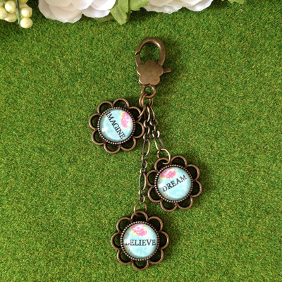 """imagine, dream, believe"" vintage chic bag charm"