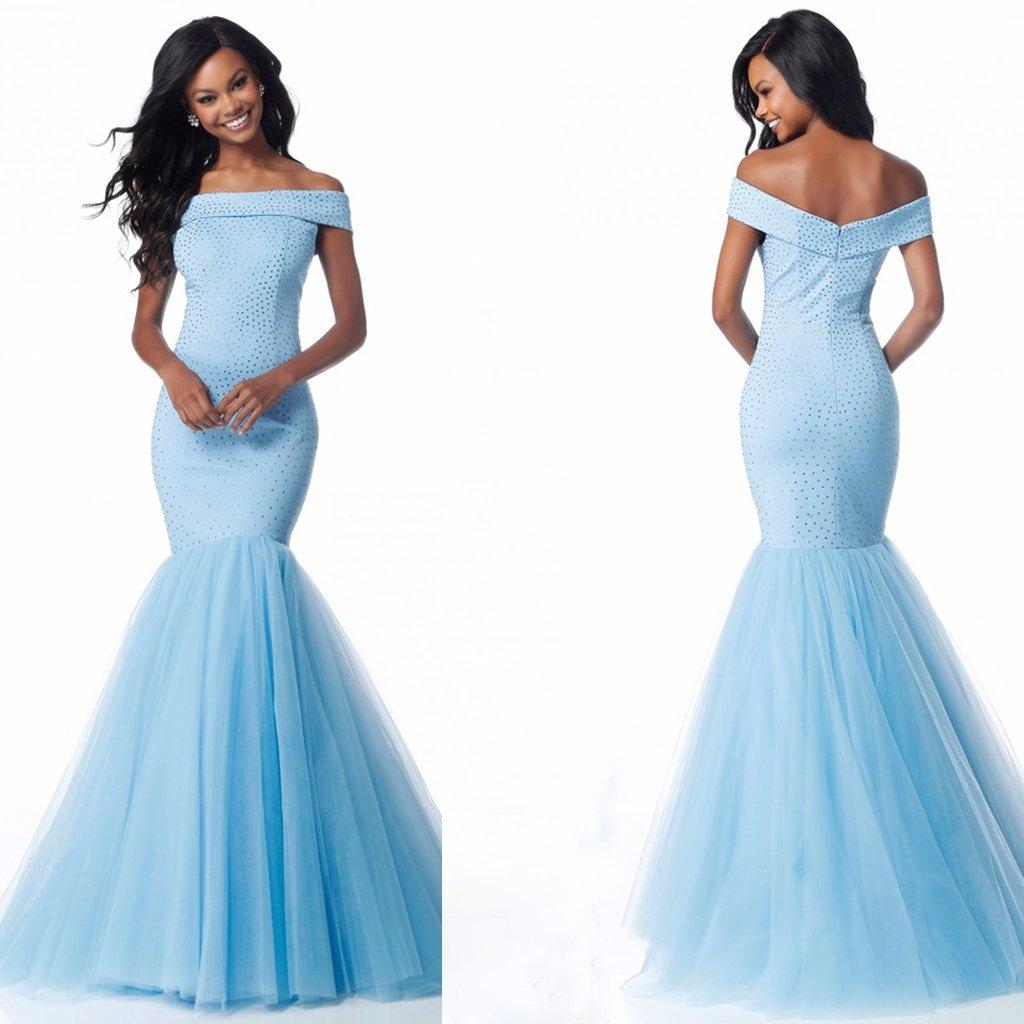 Sky Blue Off Shoulder Long Mermaid Prom Dresses,HS166 · SIMI Bridal ...