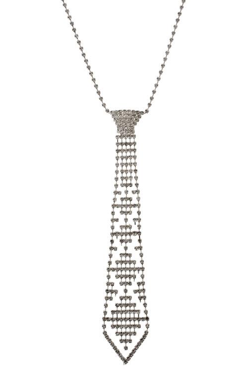 Diamond Pattern Crystal Tie Necklace 183 Sophisticates