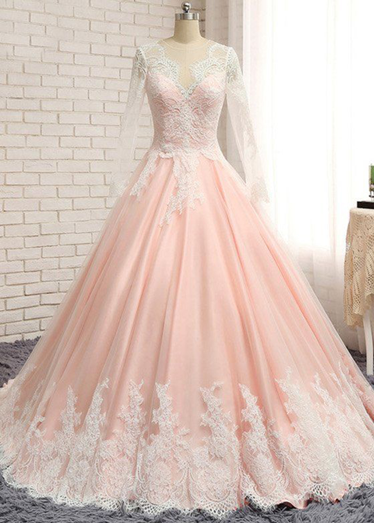 Blush pink chiffon long lace A-line senior prom dress with sleeves ...