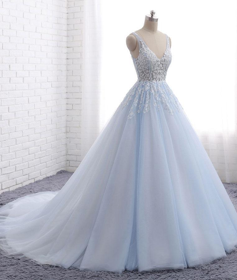 Blue tulle long V neck customize halter evening dress, senior prom ...