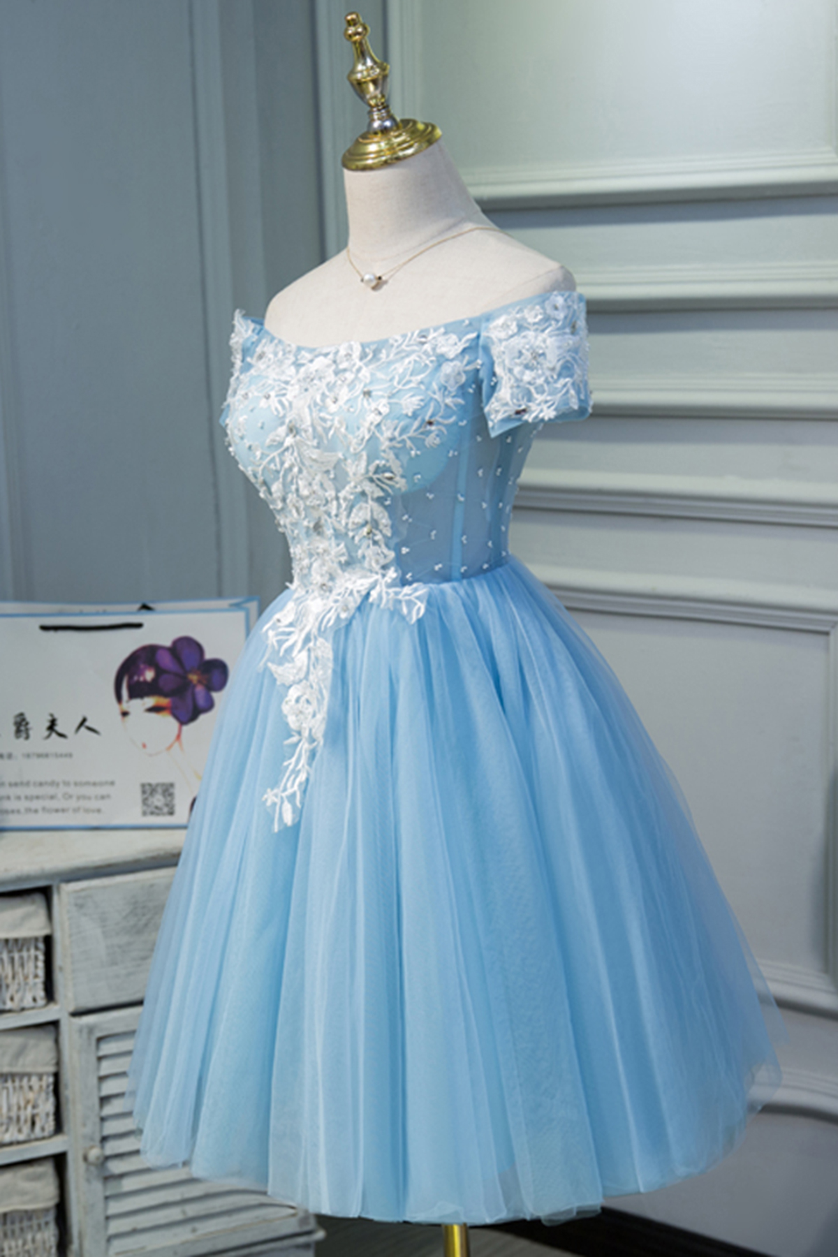 Cute blue tulle off shoulder knee length homecoming dress with ...