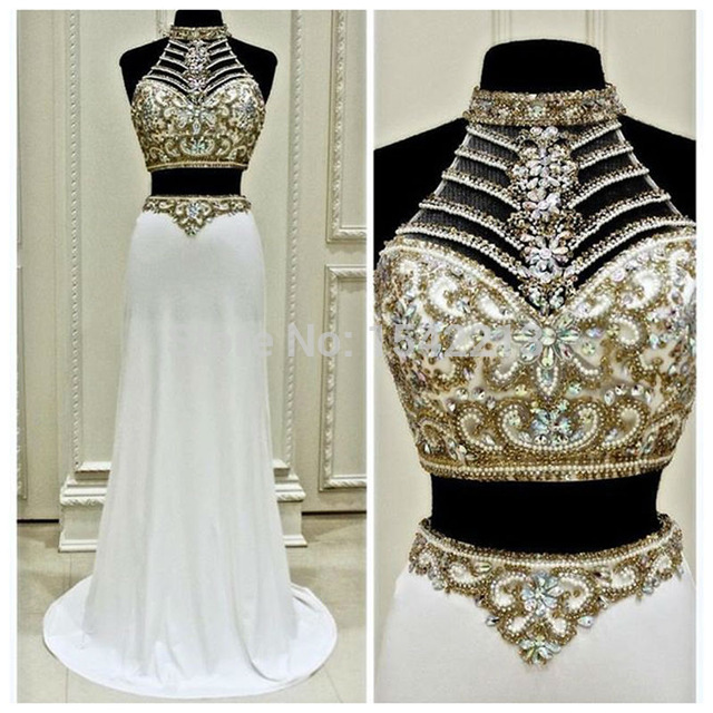 Fashionable Two Pieces Prom Dress,High Neck Chiffon Prom Dresses ...