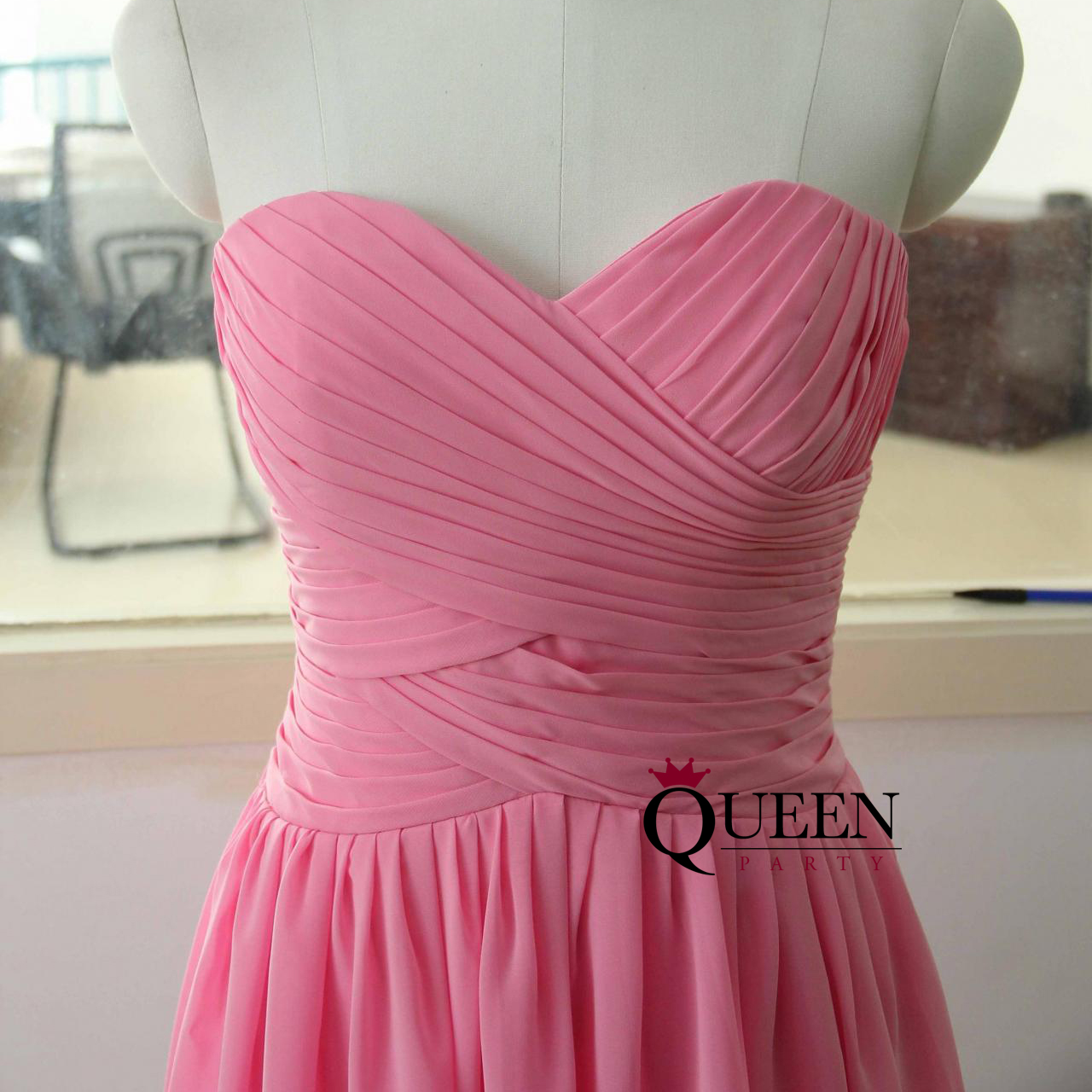 Sweetheart Pink Chiffon Ruche Cocktail Dress, Pink Chiffon ...