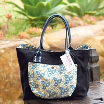 Classic Tote - Blue Clover Leaves - Mother's Day Special - Was $70 Now $55