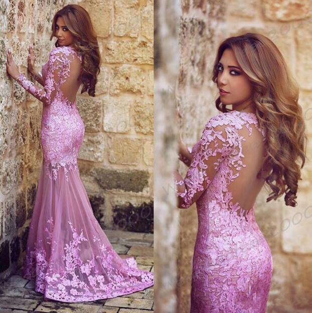 Prom dresses 2018 long sleeve lace