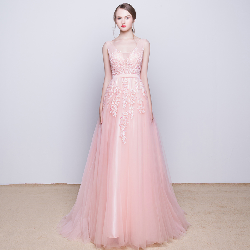 of girl | Pink v neck tulle lace long prom dress, lace evening dress ...