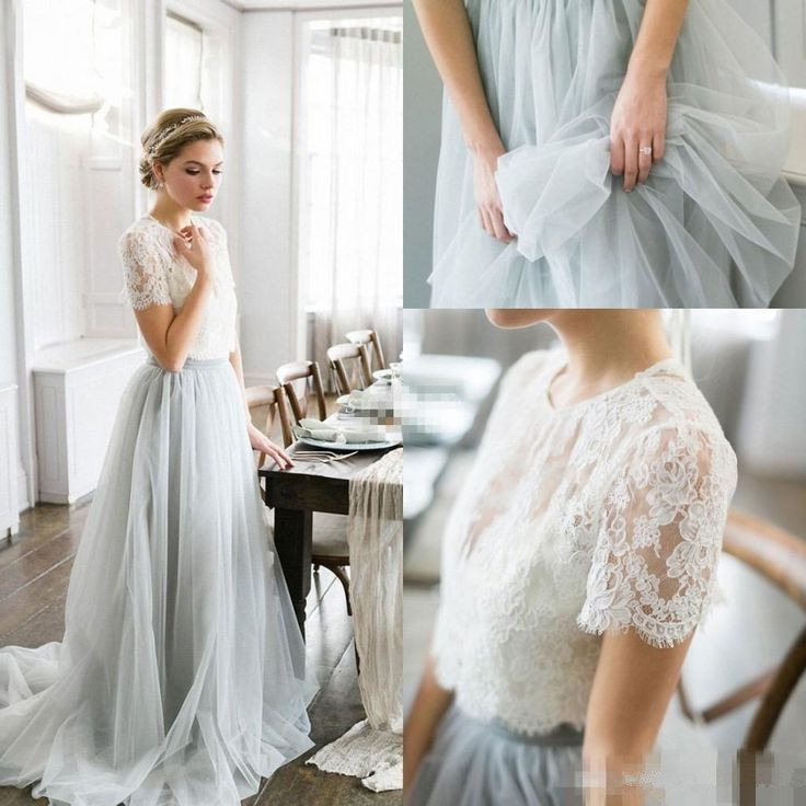 short sleeve tulle gown 2018
