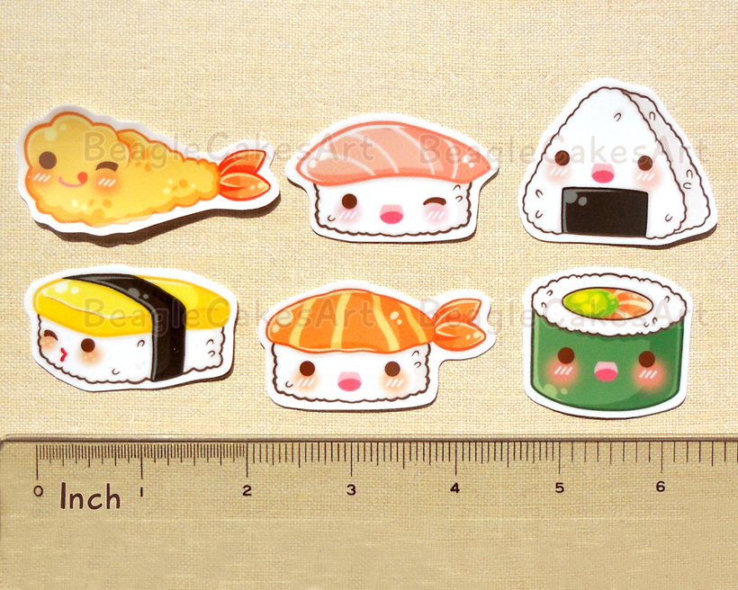 Cute Japanese Food Stickers. Ramen Noodle. Mochi. Sushi ...