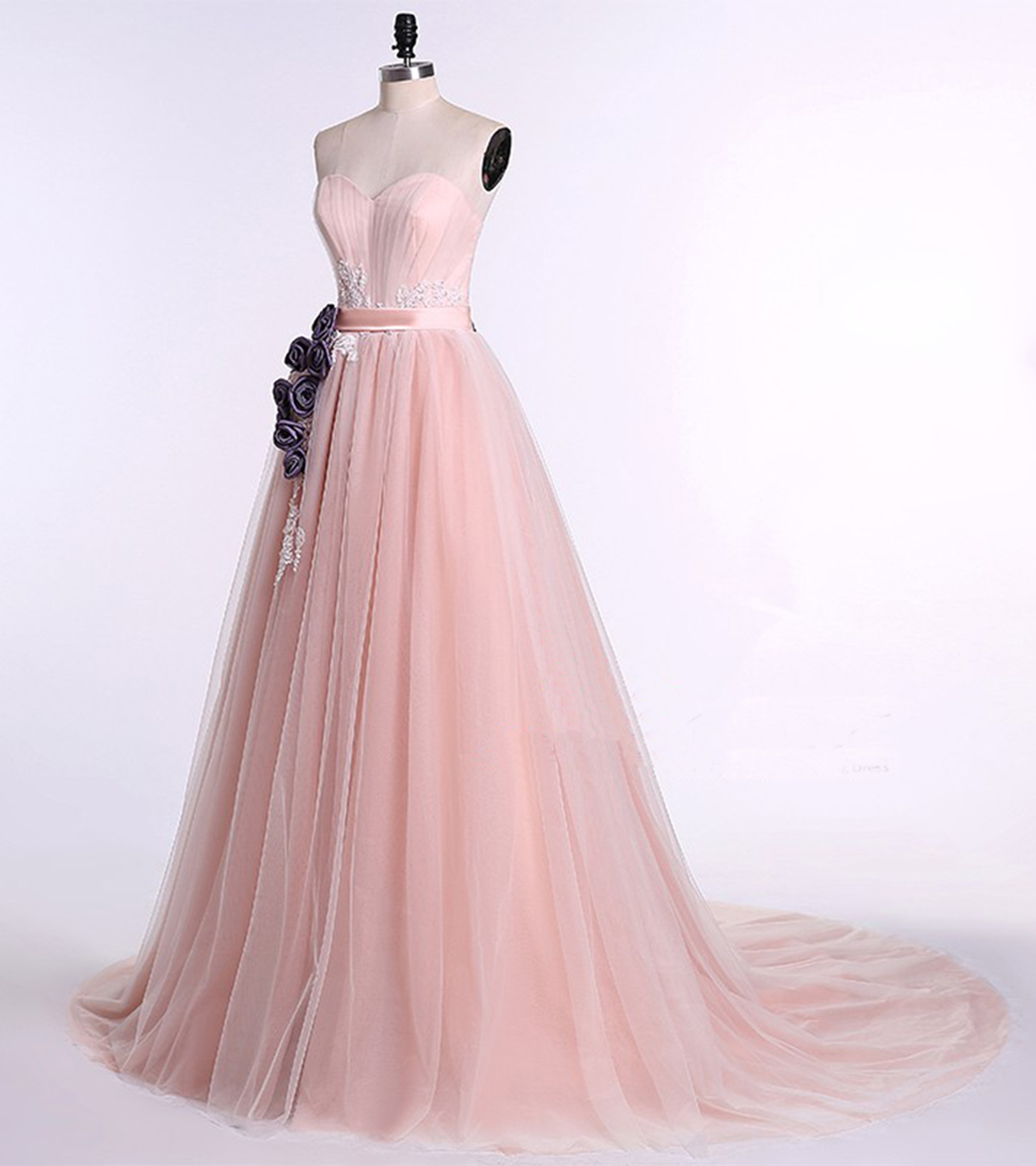 Unique Pink Tulle Sweetheart Neckline Long Senior Prom Dress With
