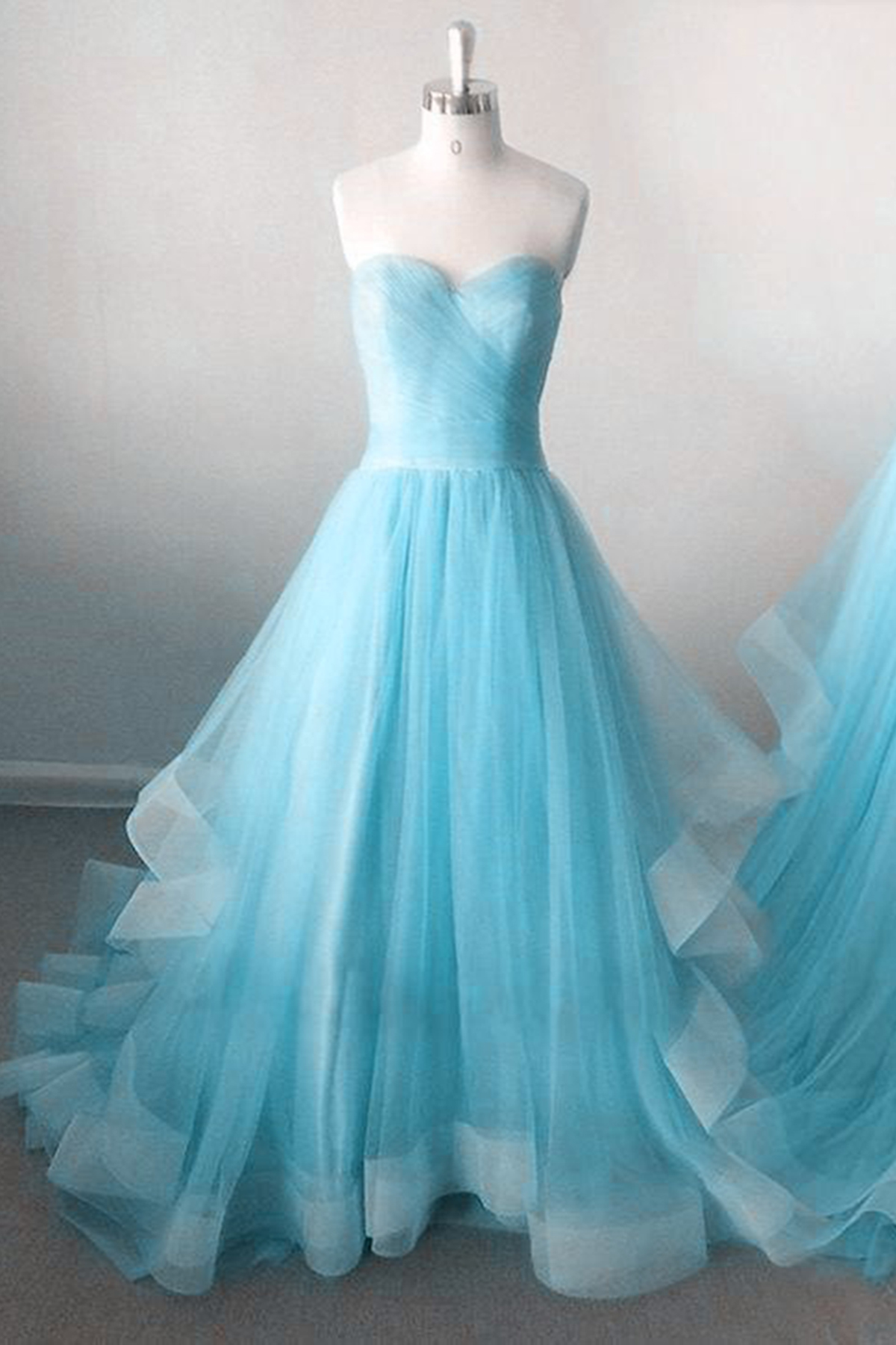 Strapless ice blue tulle sweetheart neckline long prom dress, long ...