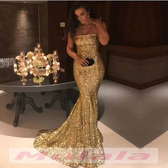 Gold Sequined Prom Dresses 2018 Strapless Mermaid Long Party Gowns ...