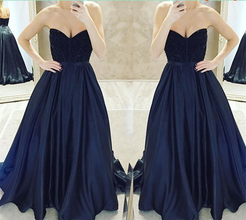 Dark Navy Ball Gown Prom Dresses,Long Prom Dresses,Cheap Prom ...