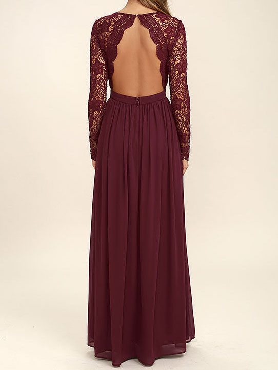 Lace Bodice Burgundy Chiffon Bridesmaid Dresses,Simple Prom Dress ...