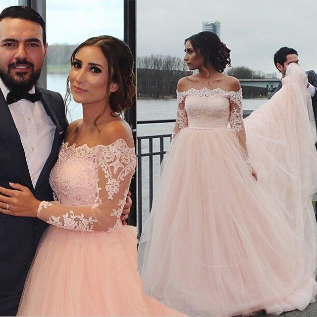 Long Sleeve Lace Bridal Dress,Off the Shoulder Tulle Prom Dress ...