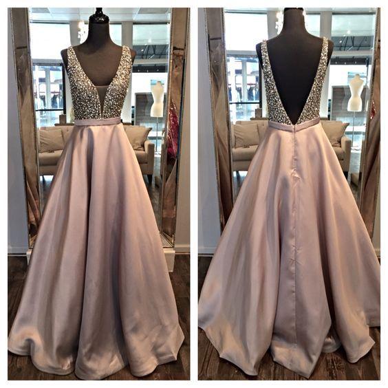 V-Neck Prom Dress,Beading Prom Dress,Satin Prom Dress,A-Line ...