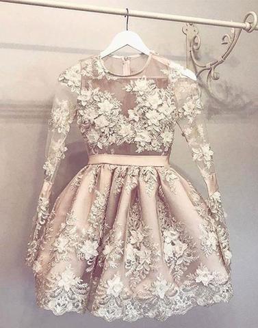 2018 cheap A line short prom dress, long sleeve evening dress,PD1913 ...