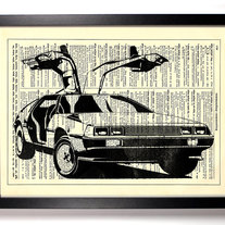 Image of Delorean, Vintage Dictionary Print, 8 x 10