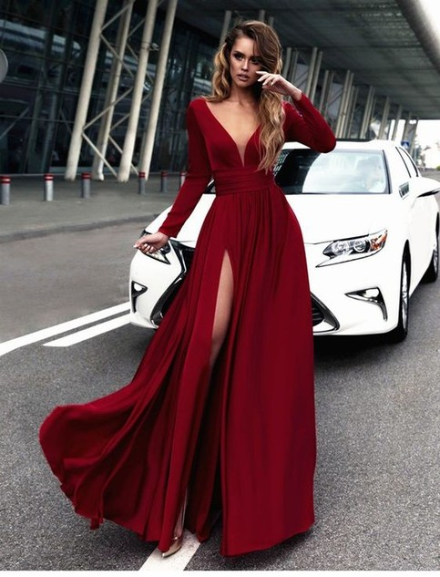 Gorgeous Burgundy Long Prom Dresses Long Sleeves Prom