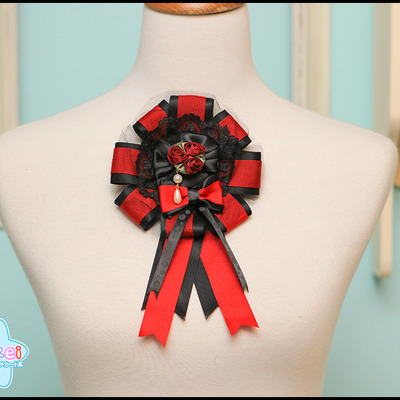 Grand rosette (two-way) - black and red