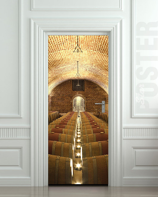 Door Sticker Wine Rowed Cellar Barrel Kitchen Vine Viticulturist