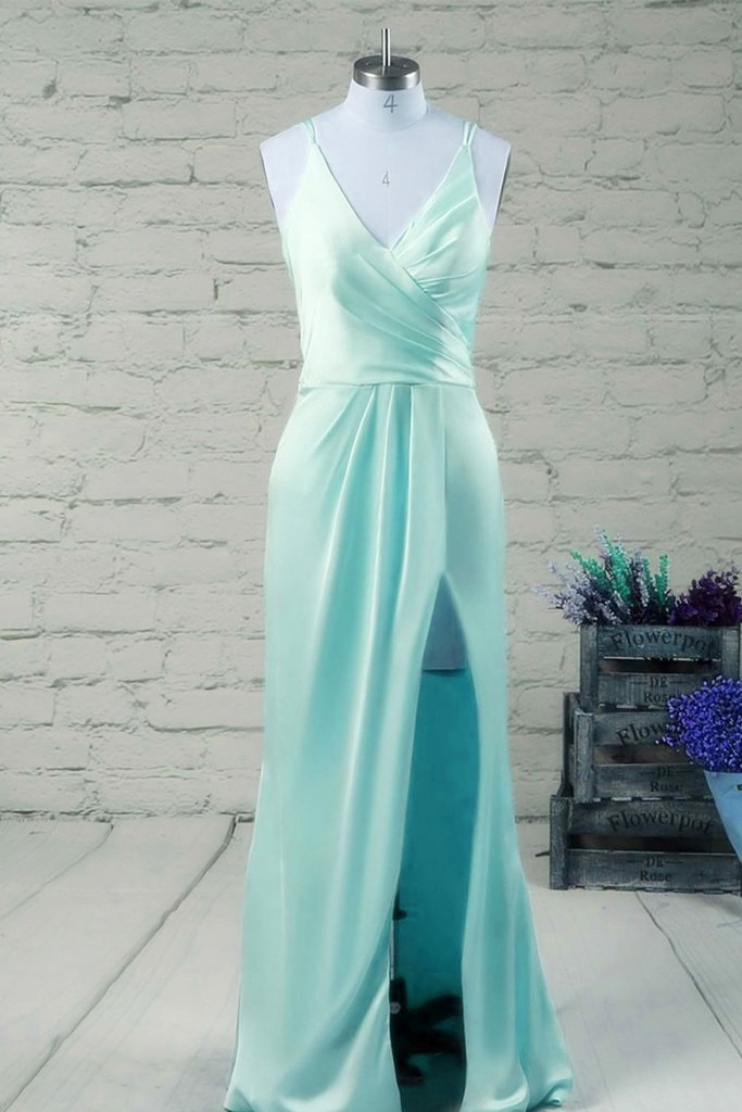 Mint Blue Slit Straps Prom Dresses 2018, Satin Junior Prom Dresses ...