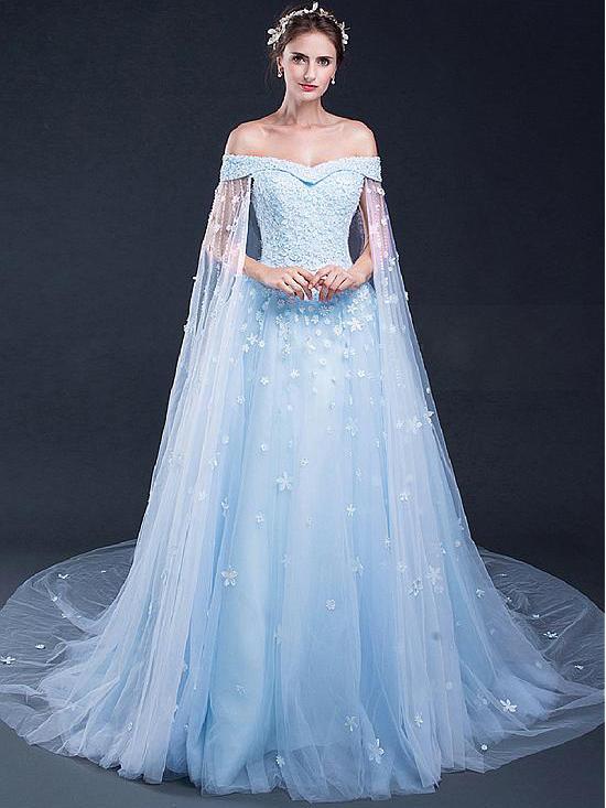 Light Sky Blue Prom Dresses Off-the-shoulder Sweep/Brush Train Tulle ...