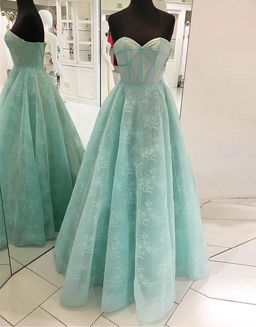 New Arrival A-Line Sweetheart Light Green Lace Long Prom/Evening ...