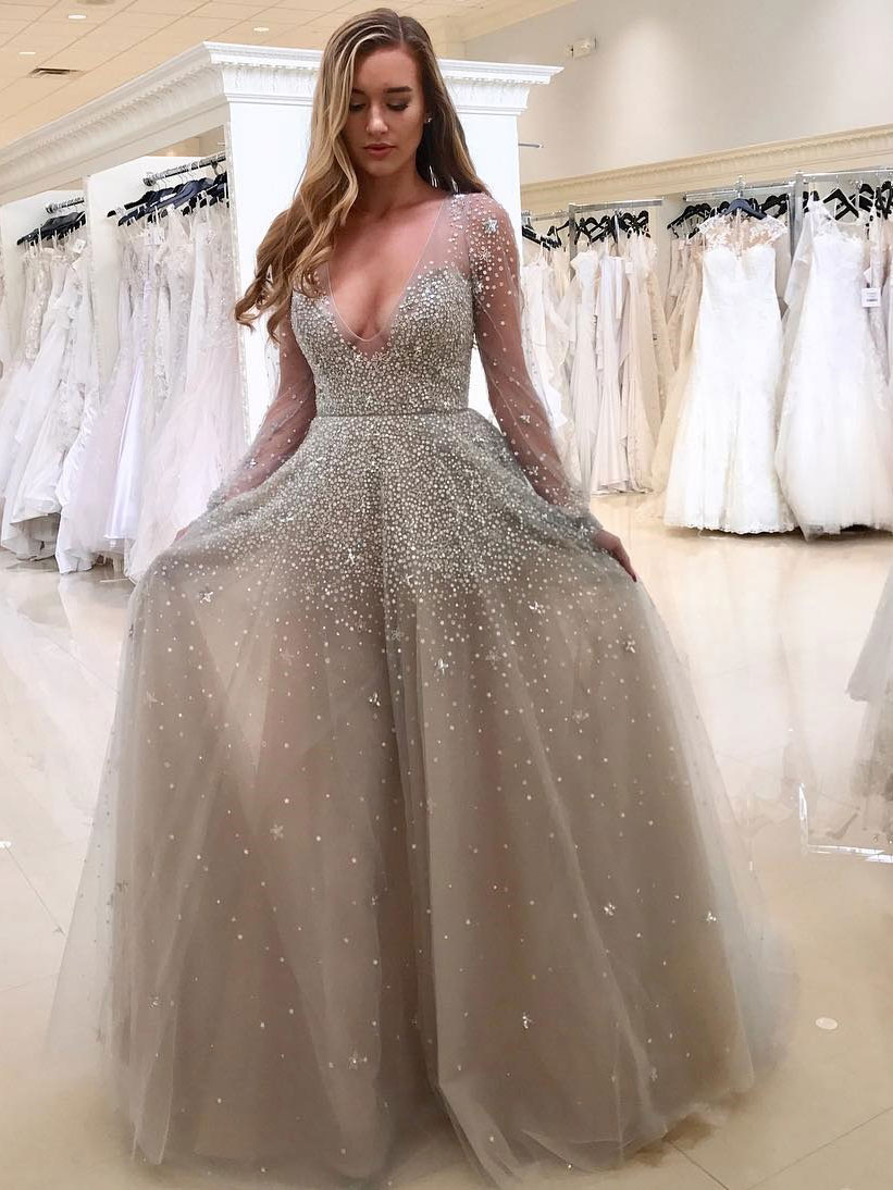A-line Deep V Neck Long Sleeve Prom Dresses, Shiny Floor length ...
