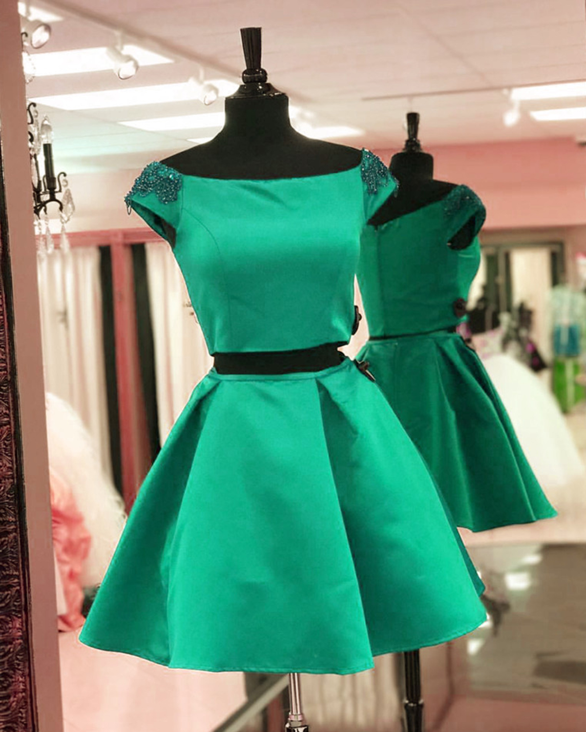 Cute green satin short two pieces cap sleeves spring prom dresses ...