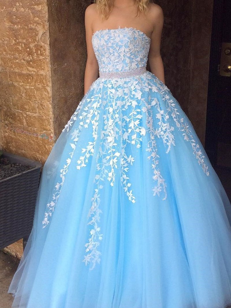 Sky Blue Princess Strapless White Lace Applique Tulle Prom Dress ...
