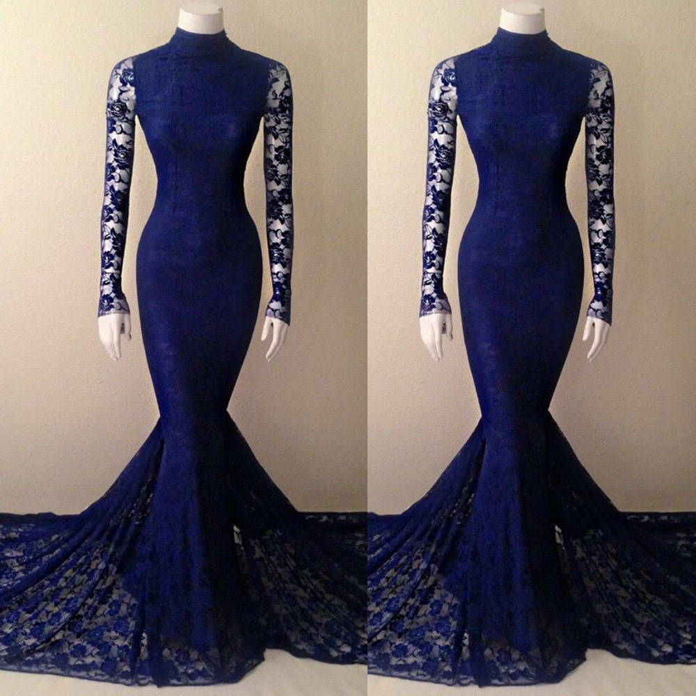 Royal Blue Lace Mermaid High Neck Prom Dress With Long Sleeves ...