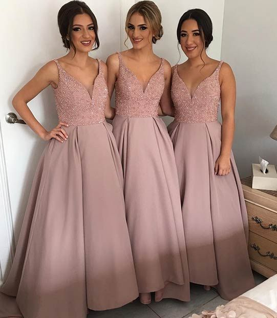 U0137plus Size Bridesmaid Dresses 2016 Blush Deep V Neck Wedding