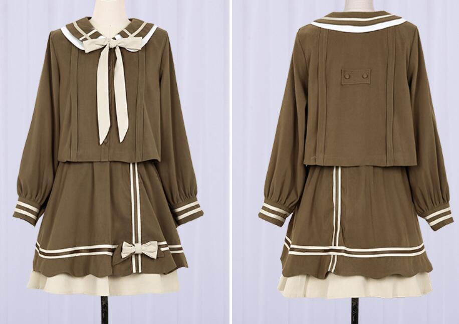 Free dhl shipping beige brown lolita sailor uniform set for Spa uniform norge