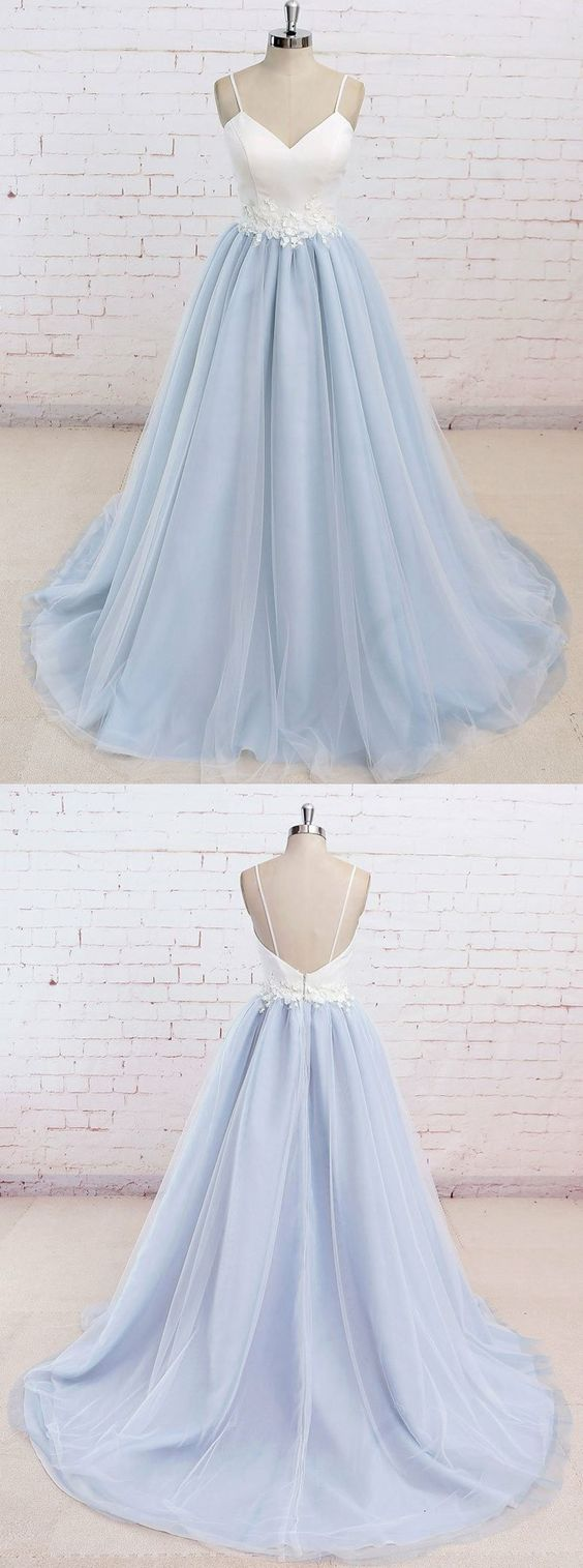 chic baby blue prom party dresses with train, fashion backless ...