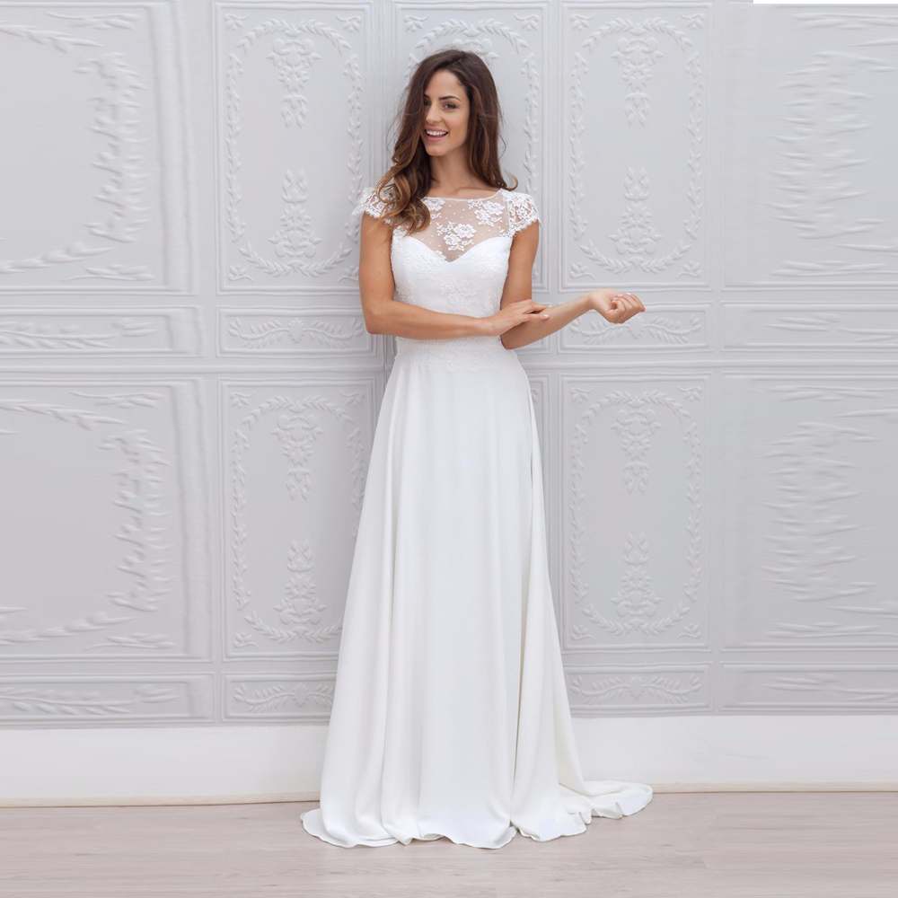 Lace over Chiffon Scoop Neckline Floor Length Wedding Dress Open ...
