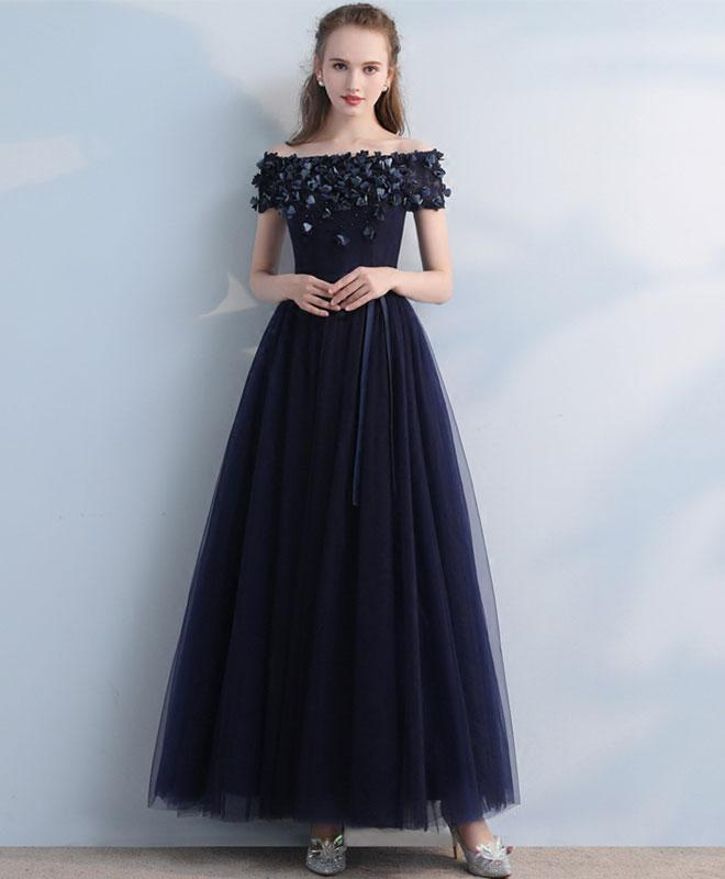 Dark Blue Tulle Off Shoulder Long Prom Dress Blue Eveninng Dress
