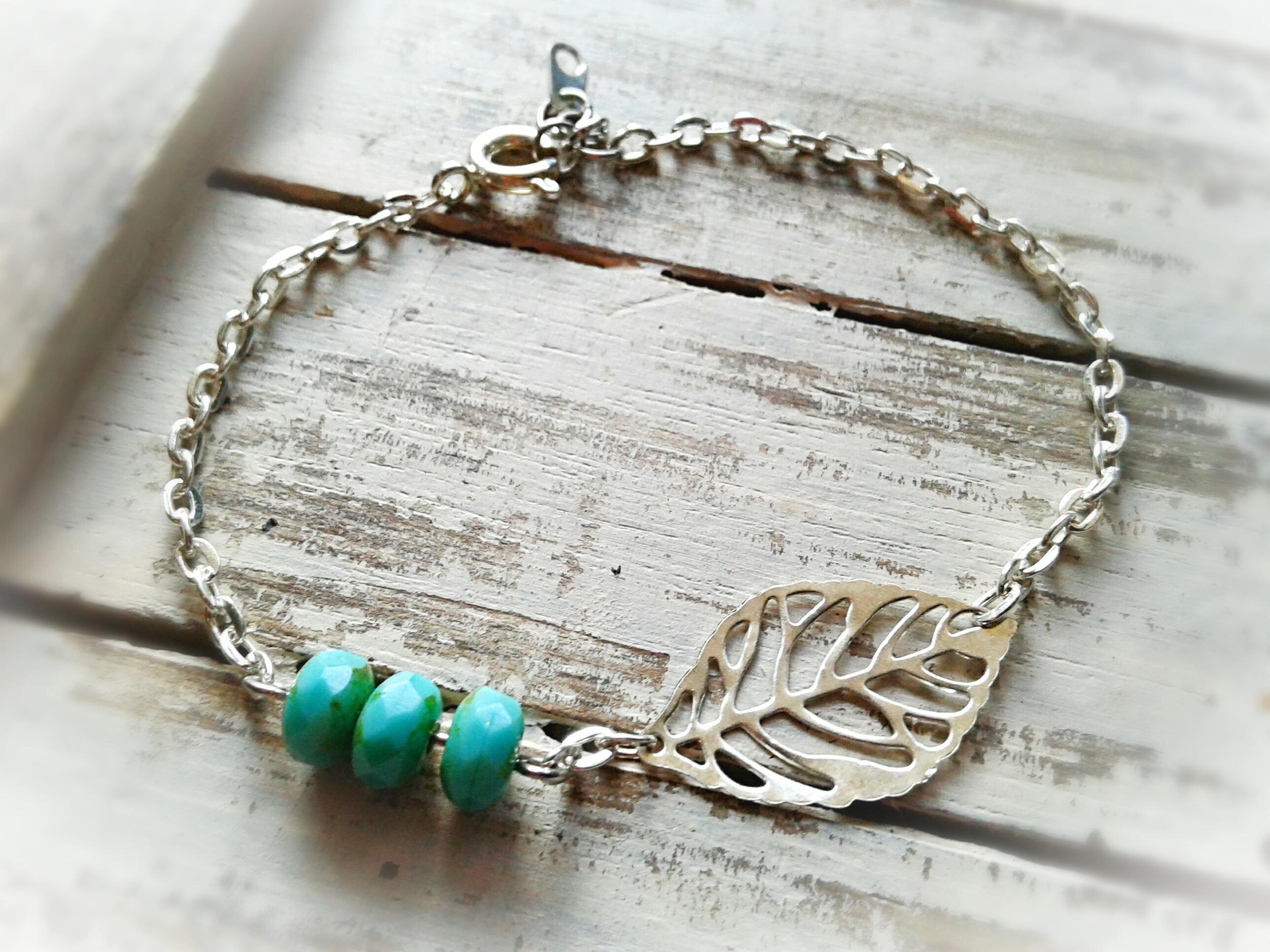 e20f26b79 Tiny Silver Skeleton Leaf Anklet Tiny Turquoise Beads Ankle Bracelet Nature  Anklet Silver Leaf Ankle Bracelet