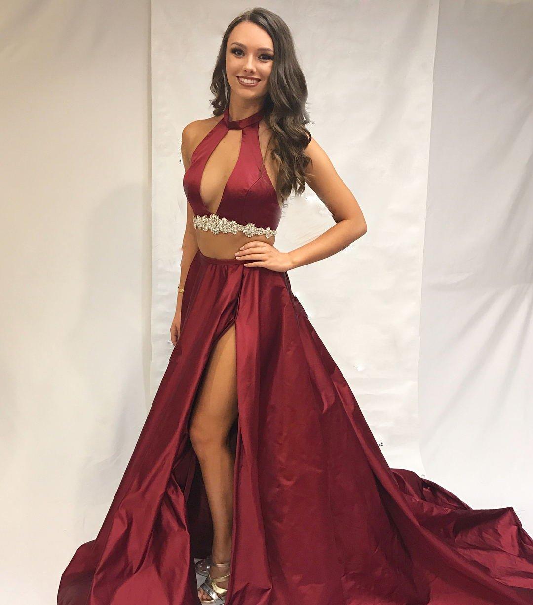 Burgundy Prom Dresses, High Neck Prom Dresses, Senior Prom Dresses ...