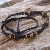 Macrame Black Hemp Choker with Wood and Glass Beads