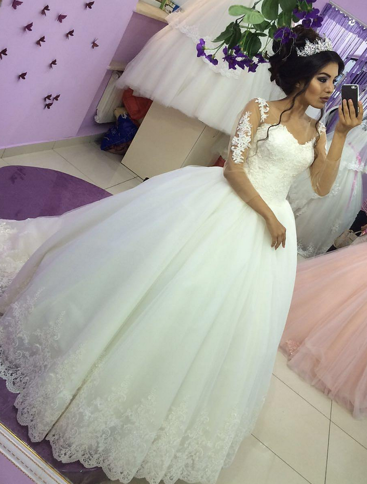 Sheer Long Sleeves Lace Ball Gown Wedding Dress,Ball Gown Prom ...